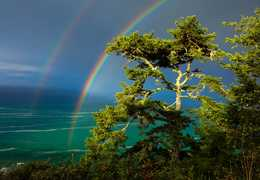 Double rainbow over the Pacific Ocean. Photo by Cathy King
